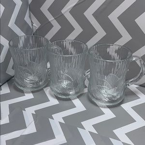 3 pc Glass Floral Mugs